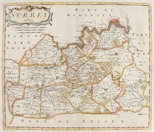 MORDEN, Robert. Surrey.  Original copper engraved map with later hand colouring from Edmund Gibson's English translation of Camden's Britannia, 1695. #London