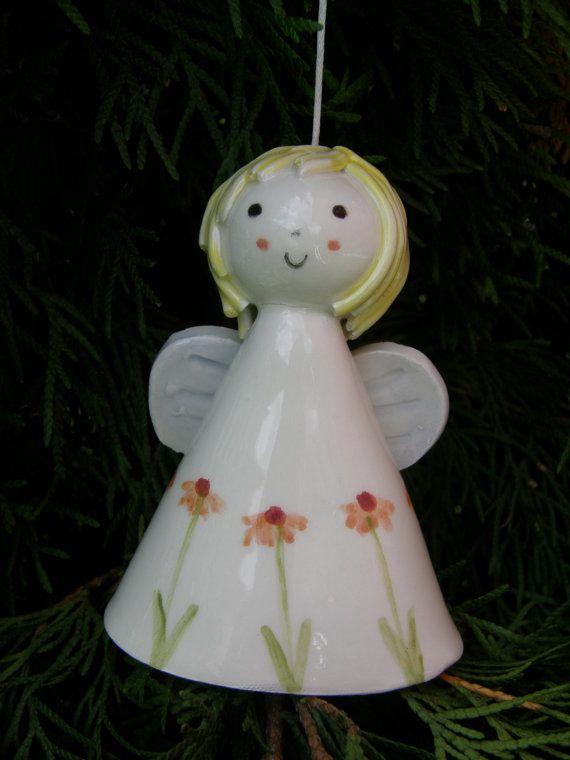 Ceramic Angel Bell Christmas Angel Ceramic Bell by TatjanaCeramics, $13.00
