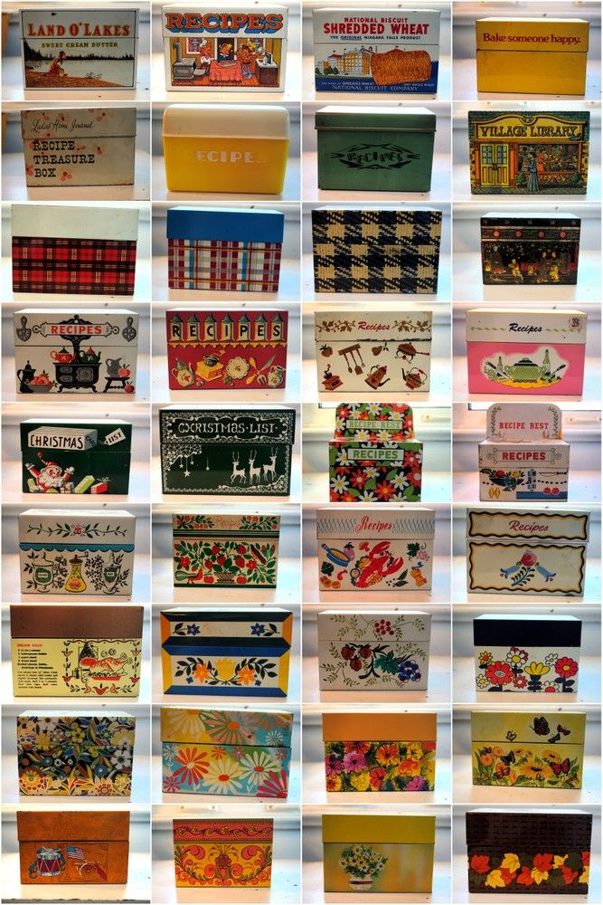 Vintage recipe box collection; Four and Twenty