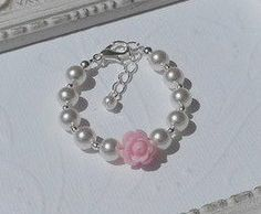 Baby Bracelet-Pearl-Flower-New Baby by sugarontopjewelry on Etsy