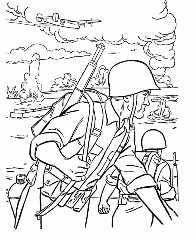USAPrintables DDay Europe coloring sheet American