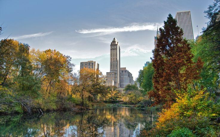 небоскребы, озеро, обои, манхэттен, нью-йорк, центральный парк, город