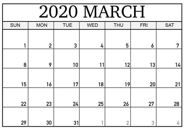 March 2020 Editable Calendar Template in 2020   Printable ...