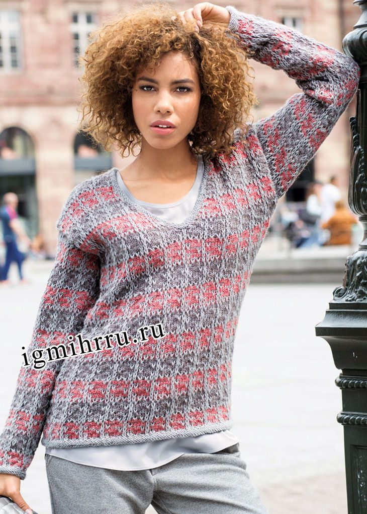Трехцветный пуловер с узором из снятых петель. Вязание спицами