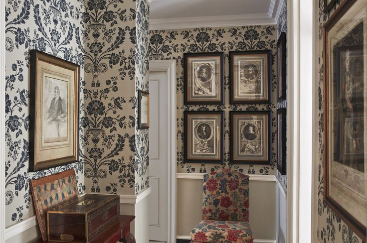 Scheme 20 - An entrance hall in St Antoine BP 910. The wallpaper base in Off-White and the pattern in Railings by Farrow & Ball. From 'Living with Colour' book.