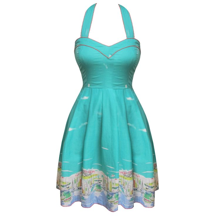 This would be cooler with a tropical scene! Eucalyptus Marina Bright Nautical Riviera Vintage 50s Summer Party Sun Dress