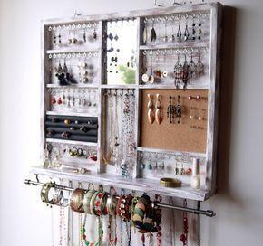 Sostenedor de la joyería. Estante de exhibición de grandes pendientes. Almacenamiento de joyería blanco. soporte de pared montado pendiente. Organizador de la joyería. almacenamiento de pendientes