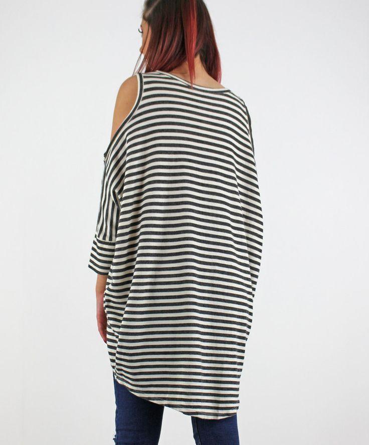 PinkCad2 Black & Cream Striped Long Sleeve Cold Shoulder Drop Back Top