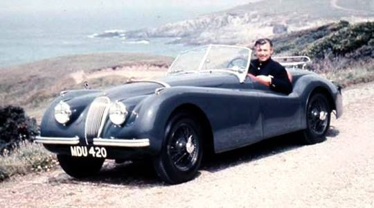 Clark Gable in his 1949 Jaguar XK120 (still with British number plate)