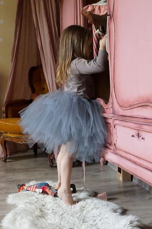 Tulle tutu and beautiful armoire