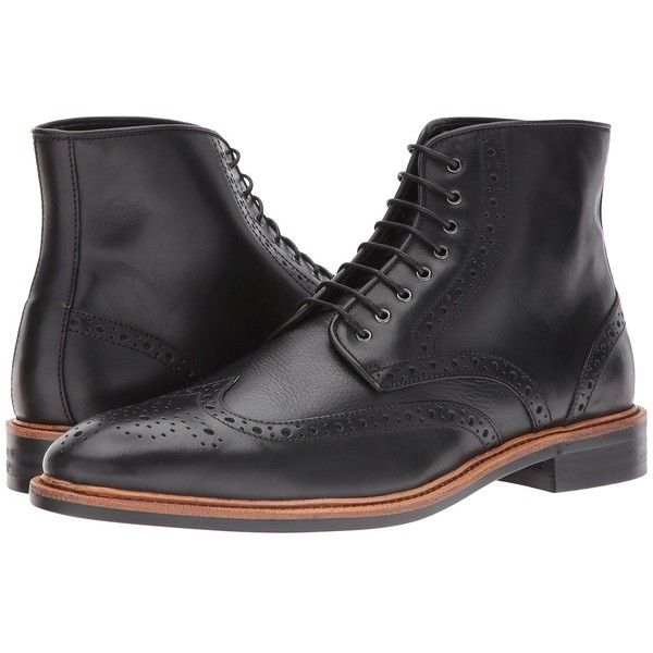Gordon Rush Stafford (Black Pebble) Men's Boots ($265) ❤ liked on Polyvore featuring men's fashion, men's shoes, men's boots, mens black wingtip shoes, mens lace up boots, mens leather shoes, mens wing tip shoes and mens wingtip boots
