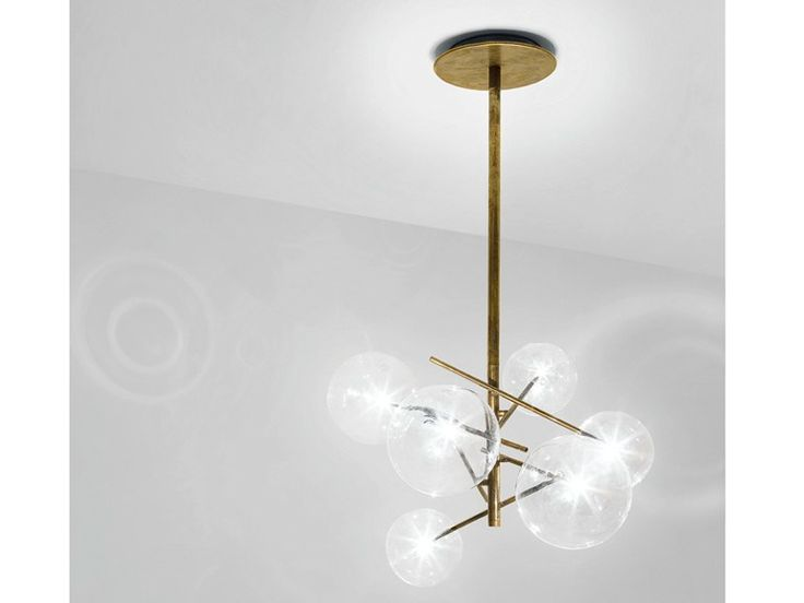 Halogen Pendelleuchte aus Messing BOLLE by Gallotti