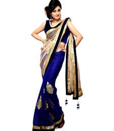 Buy Cream embroidered chiffon saree With Blouse chiffon-saree online