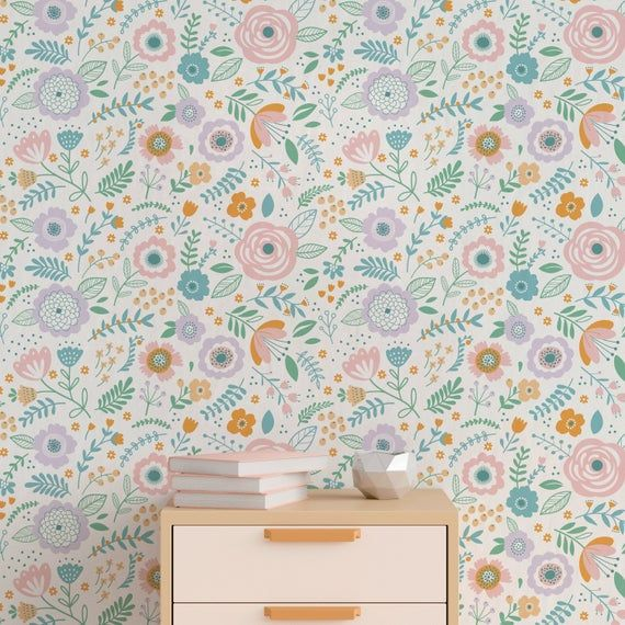 Removable Wallpaper Cute Floral Wallpaper Removable Wall Decor Peel And Stick Wallpaper Wall Paper Removable Nursery Wallpaper A815 Removable Wallpaper Wall Wallpaper Herringbone Wallpaper