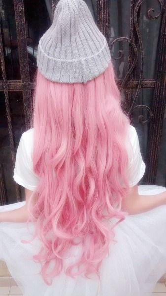 super long cotton candy pink pastel hair