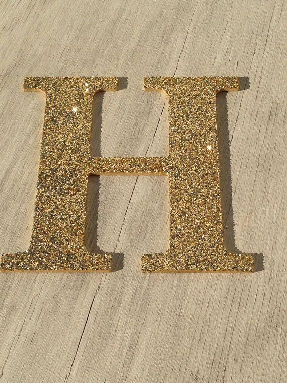 Decorative Gold Glitter Wall Letters, Wedding Decoration, Christmas Holiday Decor, Girls Bedroom Decor