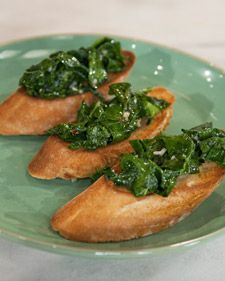 "Serve up a healthy appetizer with this kale crostini recipe from Cal Peternell, cafe co-chef at Chez Panisse in Berkeley, California. It was first published in ""Chez Panisse Cafe Cookbook,"" by Alice Waters.  Also try: Tokyo Turnips"