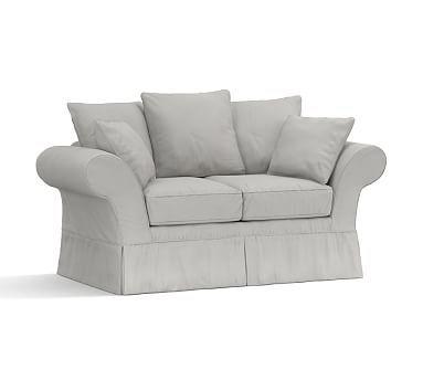 Flexsteel Sofa Charleston Love Seat Slipcover Organic Cotton Twill Gray Love SeatOttomansCushionsSofasOatmealSofa SlipcoversTweedPolyesterPottery Barn