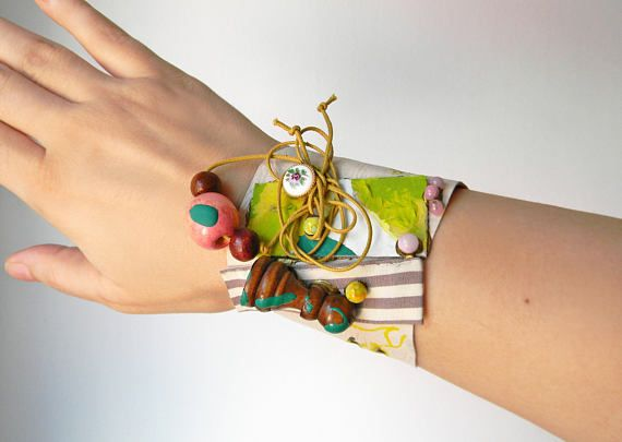 Wide leather wrist cuff with beads and fabric Mixed Media