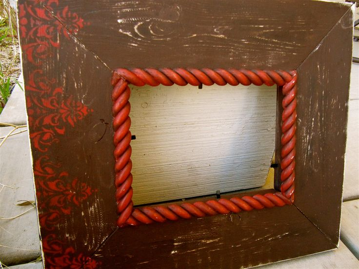 Damask Wood Distressed Picture Frame 5x7 by TheShabbyShop2011, $55.00