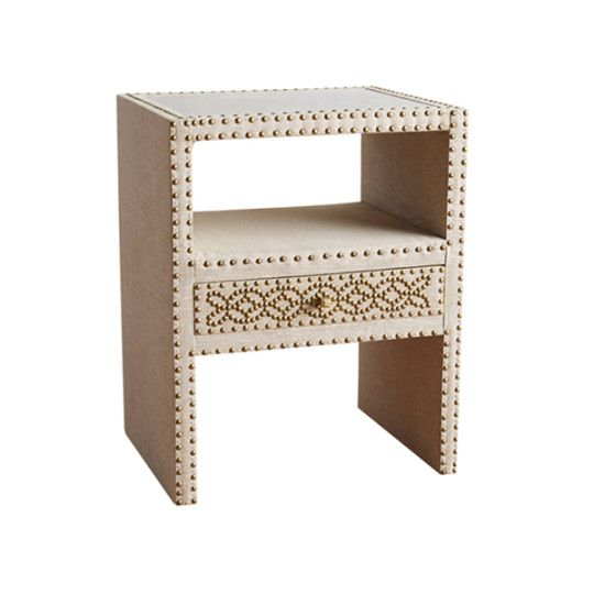Nailhead Linen Nightstand - The day was long and you are so ready to clamber into bed! The Nailhead Linen Nightstand makes the perfect bedside companion; this edgy, modern take on classic bedroom furniture offers plenty of space for all of your nighttime essentials. So go ahead a read a book until your eyelids flutter shut; this gorgeous table will hold everything once you drift off. - Found at myWebRoom.com
