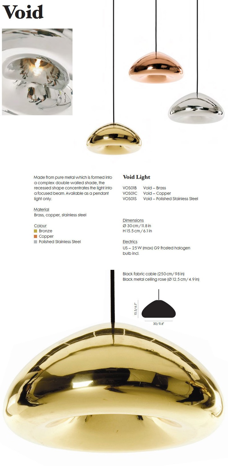 Tom Dixon: Void Pendant Light in Brass