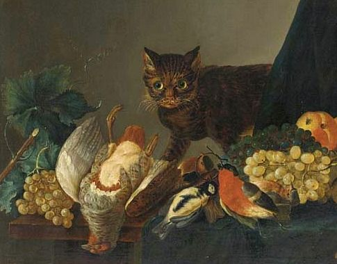 Circle of Jan Fyt (Flemish, 1611-1661) - Cat  with Dead Game and Fruit on a Table (17th century)