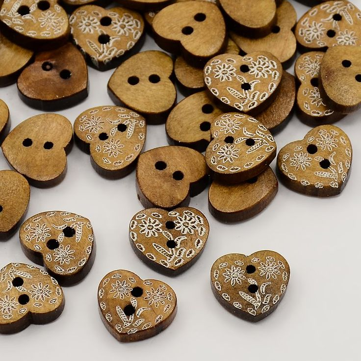 Wooden Buttons, Undyed, 2-Hole, Heart with Flower Pattern, Camel