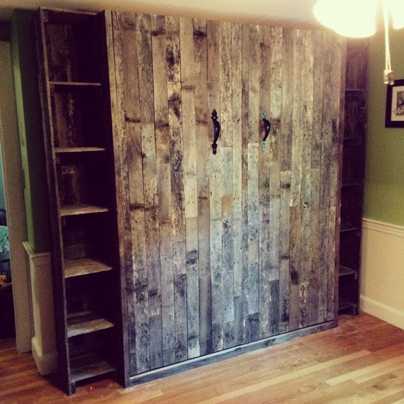 Queen Murphy Bed with fixed 12in shelves each side. Overall width 90 in x 16 in deep x 85 in tall.  Pallet wood fronts and shelves, prefinished maple