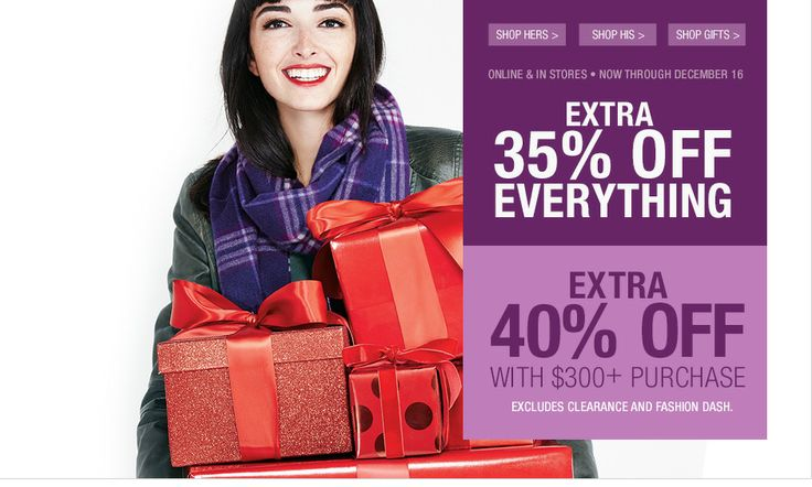 Get 35% off everything plus extra 40% off on order $300 or more at #lastcall