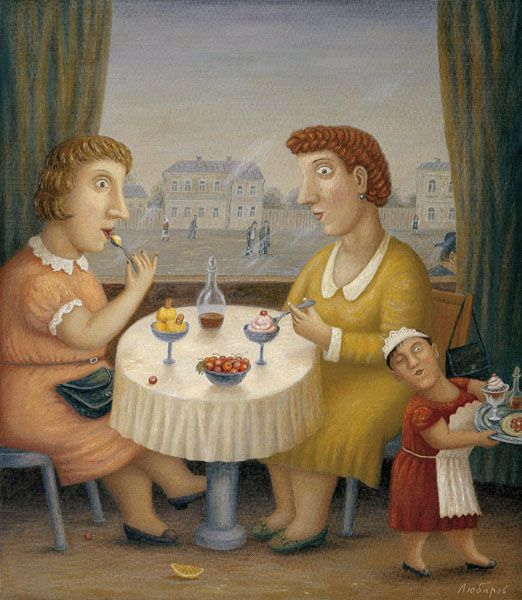 'Ice-cream parlour' (2002) by Russian painter Vladimir Lubarov (b.1944). Oil on canvas with engraving, 31.5 x 27.5 in. via ArtRussia