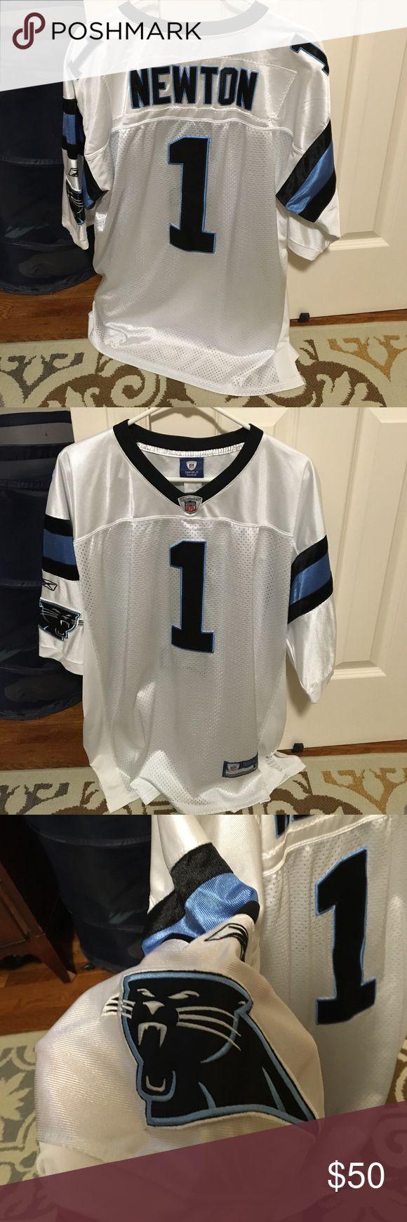 Cam Newton Carolina Panthers white jersey #1 Cam Newton Carolina Panthers white jersey #1. All numbers letters and logos stitched on Reebok Shirts