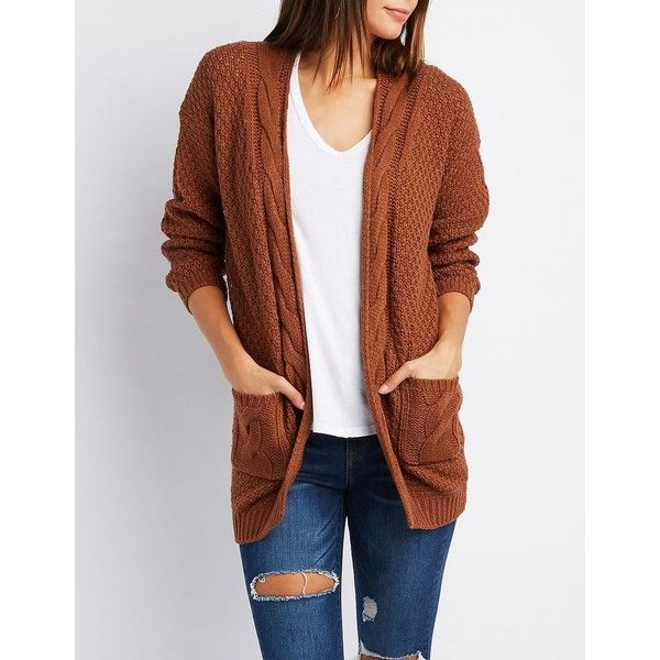 Charlotte Russe Cable Knit Open-Front Cardigan ($24) ❤ liked on Polyvore featuring tops, cardigans, brown, long sleeve tops, brown open front cardigan, cable knit cardigan, chunky cable knit cardigan and long cable knit cardigan