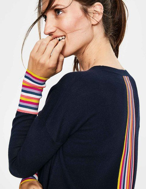 d32ad5955783c0 Weekends are more cheerful when you slip on this relaxed jumper. Rainbow  cuffs and a stripe down the back for a playful, flattering look.