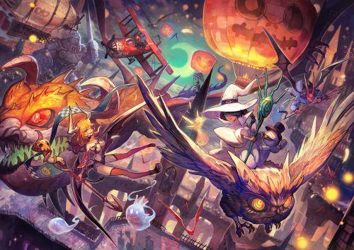 ハッピーハローウィン!Trick or Treat!毎年恒例のハロウィン絵でございます。ハロウィンの夜 天空の城で開催される一夜限りのエアレースそんなイメージで描きました。