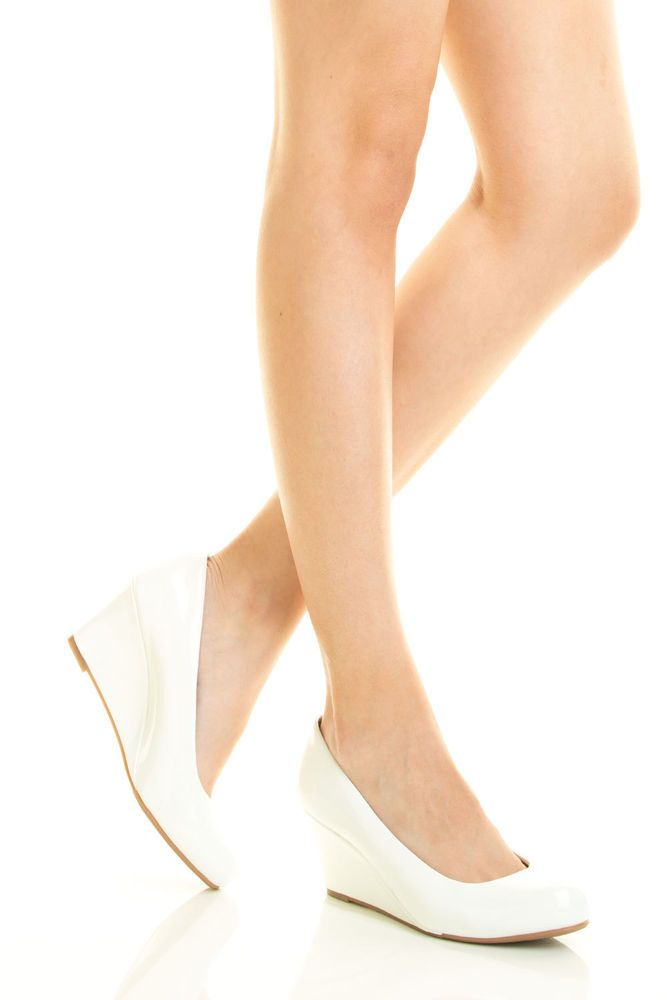 Women Slip On Med Low Wedge Heel Patent Leather Closed Toe White Pump Shoe Sz8.5 #Forever #PlatformsWedges #BridalorWedding