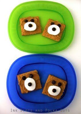 graham crackers + peanut butter + chocolate chips + 1/3 of a regular marshmallow = BEAR CUB Snack