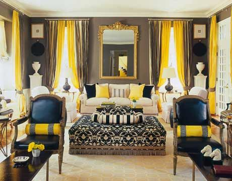 High Contrast of Yellow and Black  The high contrast of yellow, black, and deep taupe gives the room a smoky, glamorous, old-world Hollywood style. Designed by Mary McDonald.
