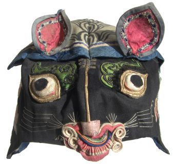 "Vintage Chinese Children's Hat. Repinned by Elizabeth VanBuskirk. See this board ""folk art"" for seeing other examples of masks that might serve as inspiration for making masks that Inca people make and use for acting out events, sometimes farcical and historical, at fiestas. What makes this mask different from the Inca play-acting masks?"