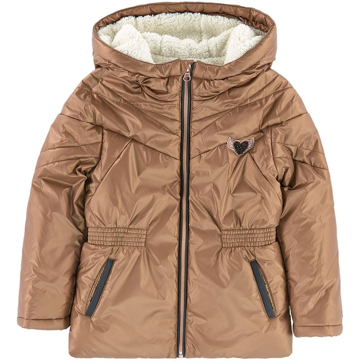 Synthetic fabric   False fur lining Synthetic sleeve lining Synthetic padding Pleasant to the touch Soft lining Close fitting waist Warm and comfy item Large hood Long sleeves Zipper on the front Golden highlights Fancy patch Removable fur - 170.24 €