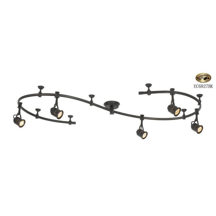 Hampton Bay 5-Light 10 ft. Black Flexible Track Lighting Starter Kit - EC6827BK at The Home Depot - $124