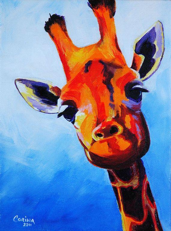 Items similar to Giraffe - Wildlife Art Original Acrylic Painting on Canvas 6 x 8 - By Corina St. Martin on Etsy❤️