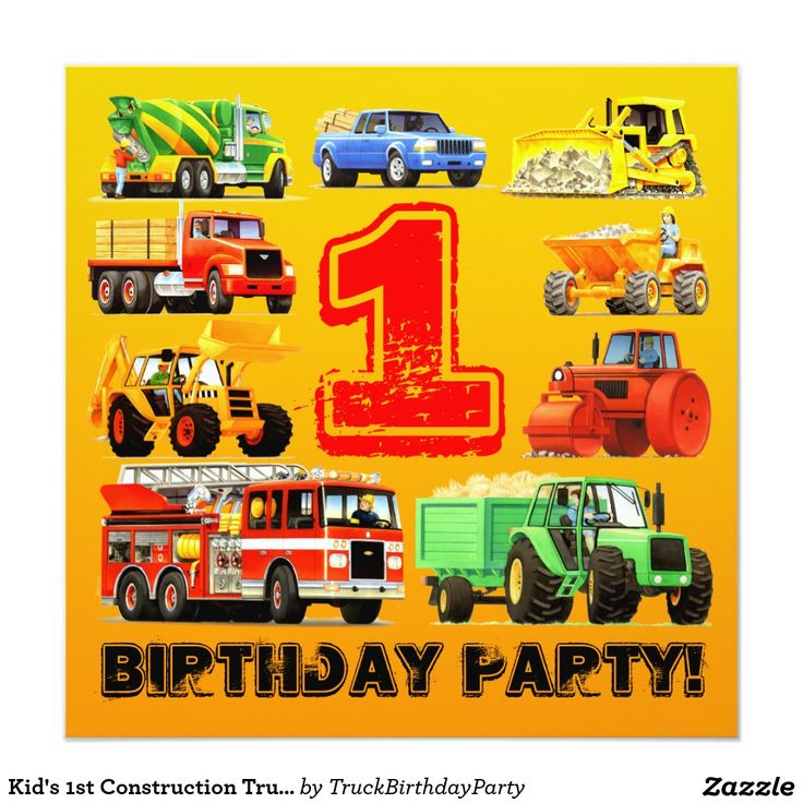 Kid's 1st Construction Truck Party 5.25x5.25 Square Paper Invitation Card