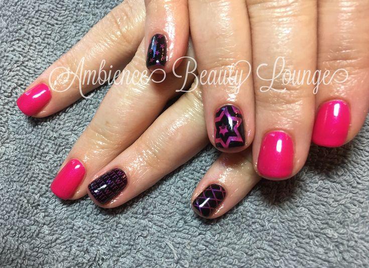 Gelish gel polish black and pink nails nail stamped nail art