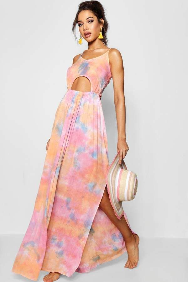 5eeb3599a22 Jayde Tie Dye Cut Out Beach Dress #strappy#leather#faux | Gowns ...