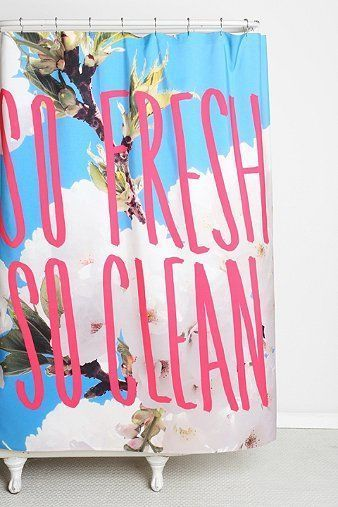 """NEW DENY LEAH FLORES SO FRESH AND SO CLEAN SHOWER CURTAIN 69"""" X 72"""" #DENY"""