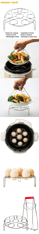 FILWIN Food Steamer Rack for Pressure Cooker, Egg Vegetable Steam Rack Stand Basket Set, Egg Cooker Eggassist with Plate Bowl Clip, Stainless Steel