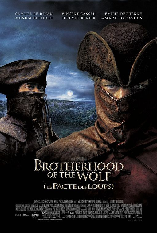 Brotherhood of the Wolf: I have no clue how my sister stumbled onto this gem of a film but I'm glad she did because she introduced it to me and I was captivated. They speak in French; there's a werewolf running around; ridiculously hot men; gorgeous costumes; scandalous pairings - perfect!