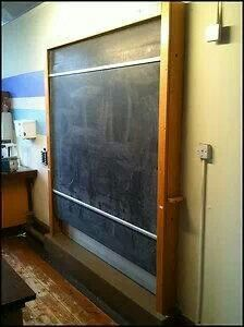 Roller blackboards, chalk and board dusters, on a raised platform, so the teacher could look down on you.