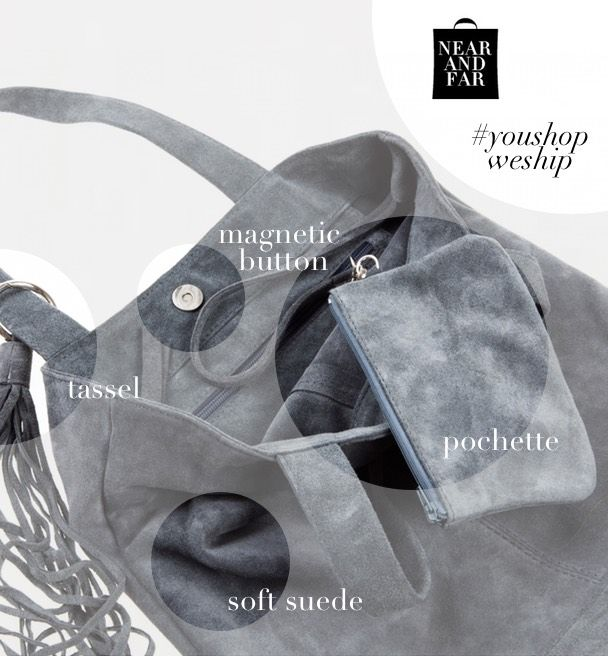 Soft, useful, urban, spacious. http://near-and-far.com/en/home/201-saidy-suede-dark-grey-long-tote.html #suede #moroccanbags #crazyforbags #nafbags
